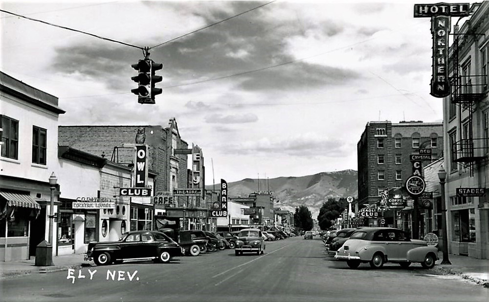 Old black and white photo of downtown Ely, Nevada