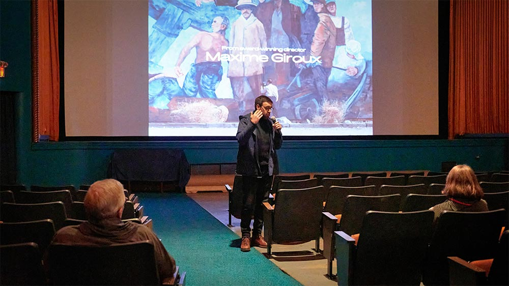 Maxime Giroux discussing his movie at the Ely Film Festival